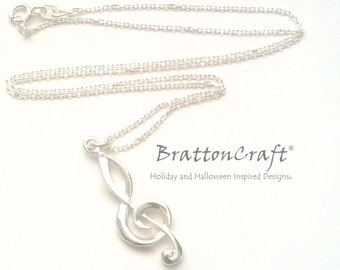 Sterling Silver Treble Clef Necklace -  Treble Clef Necklace - Music Necklace - Clef Necklace - Musical Symbol Necklace