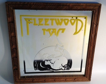 Fleetwood Mac Penguin Mirror w/Wood Frame ca 1975 - Extremely Rare