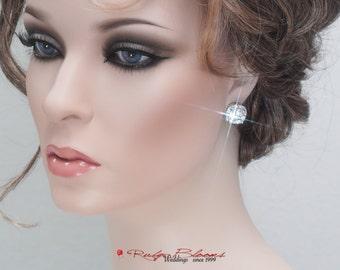 CZ Bridal Stud Earrings, Crystal Stud Earrings, Bridal Post Earrings, Cubic Zirconia Earrings Silver Bling Bridal Earrings, Gift CZ Earrings