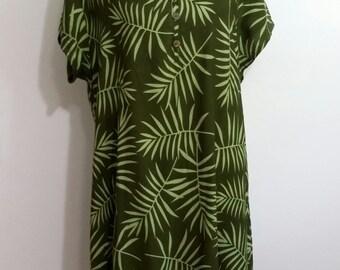 Jungle print dress, L, XL, jungle print tunic, summer dress, summer tunic, palm leaf dress, tropical dress, tropical tunic, hi lo dress