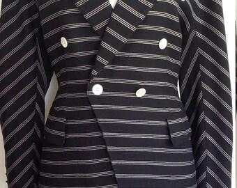 Escada jacket, M, l, Escada blazer, vintage Escada, pinstripe blazer, pinstripe jacket, nautical jacket, designer blazer, designer jacket