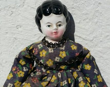 Vintage Small China Doll with Porcelain Head and Cloth Body