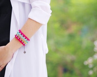 Neon Summer Bracelet Woven Bracelet Bohemian Chic Bracelet Boho Gifts Ibiza Style Jewelry Neon Pink Jewelry Statement Friendship Bracelet