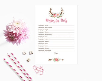 Boho Wishes for Baby Card, Pink Boho Floral Deer Antler Wishes for Baby Card, Well Wishes for Baby, Instant Download Printable235