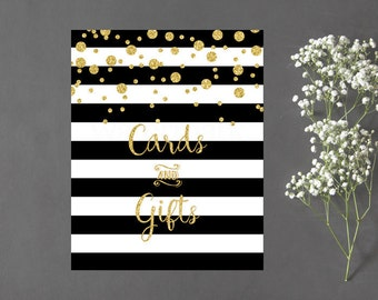 Cards and Gifts Sign, Cards and Gifts Sign, Black and White Stripe Gold Confetti Instant Download PDF Printable