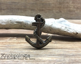 Antique Bronze Metal Anchor Knob - Sailor Nautical Nursery Decor - Ocean Boating Boy Decorative Pirates Knob