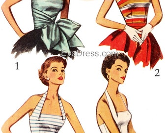 1953 Halter and Bodice Tops EvaDress Pattern - A quick formal op!