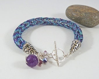 Sterling Silver Viking Knit Bracelet, Blue & Purple Viking Weave Bracelet, Birthday Gift, Norse Jewellery, Vikings, Woven Wirework Bracelet