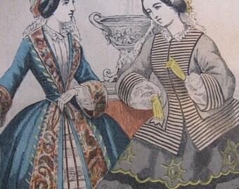 Vintage Fashion Illustration Les Modes Parisiennes Engraving Paris France French Paper Ephemera