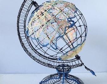 Metal Colorful Yarn Globe; yarn art, metal globe, home decor, office decor, globe, map, yarn globe, modern decor