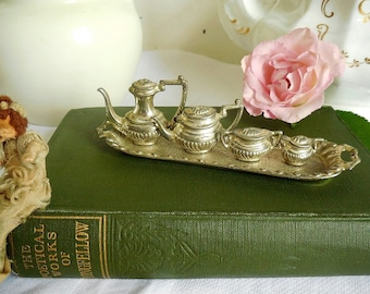 Pretty dolls house miniature metal tea and coffee set REDUCED