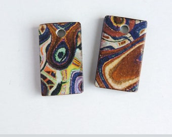 Polymer clay charms, Abstract art beads, 2 Organic pattern beads,  Brown blue white Artisan beads, Rectangle charms, Earring tile charms