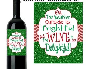 Christmas Wine Label Christmas Wine Labels Christmas Labels - Custom wine bottle label template