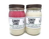 30% Off - Dye-Free Candy Cane Scented Soy Candle, Vegan Candle, Hand Poured Soy Candle, Gift Wrapped Jar Candle, Christmas Candle,