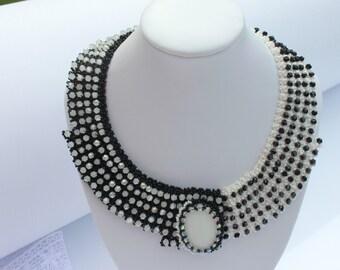 Domino Unique Black and White Necklace Statement Necklace Glass Beads Necklace Seed Bead Bead woven Necklace Anniversary Birthday gift