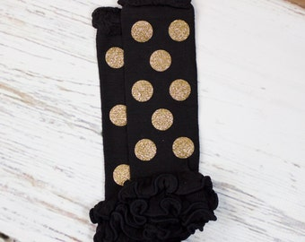 Gold Polka Dot Leg Warmers | Sparkly Gold Dot Leg Warmers on Black Leg Warmers with Ruffles