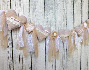 Lace garland Shabby wedding garland Heart garland Wedding decoration Wedding bunting Rustic wedding Pink garland Flower garland fabric