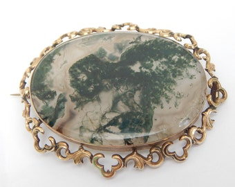 moss agate antique Victorian brooch pin - moss agate jewelry