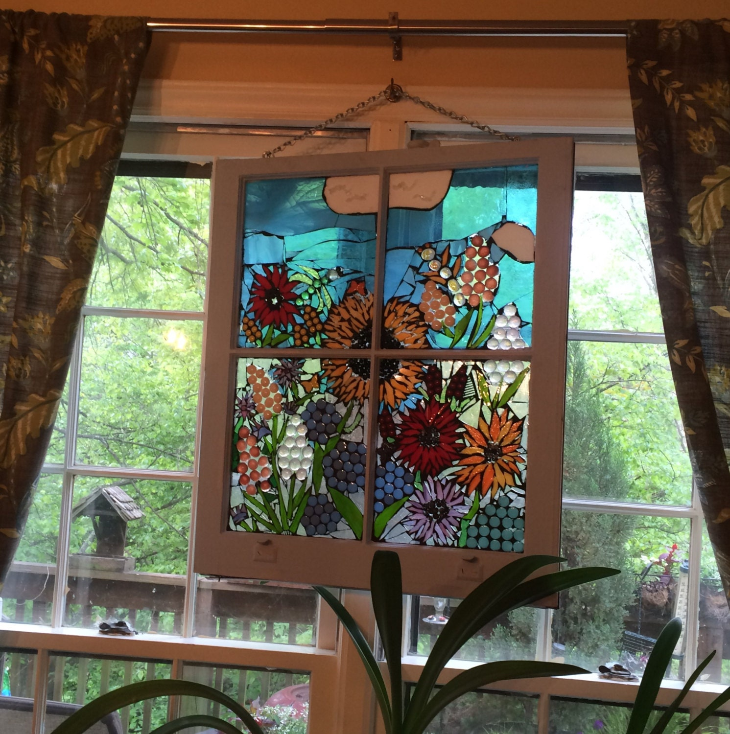 Stained Glass Mosaic Window Vintage Wooden Window Stained