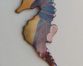 Flame painted copper Seahorse, pin
