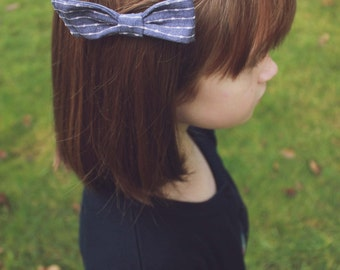 Denim Bow Clip // Chambray // Blue and White