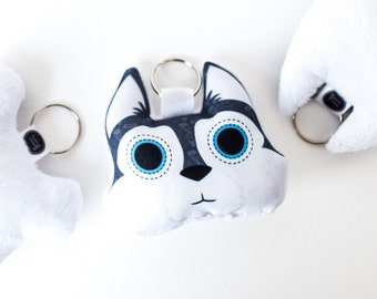 Keychain husky | Snow dog shaped accessories, purse decoration, gift for dog lover, plush zipper charm