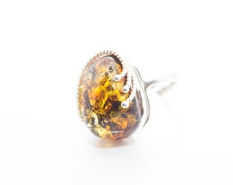 Dark Amber Stone Ring, Unique Amber Ring, Green Amber Ring, Olive Green Ring, Gemstone Ring, Amber and Silver Ring, Natural Stone Ring