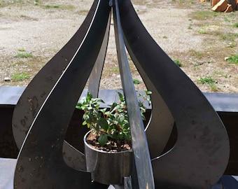Raw Steel Hanging Planter