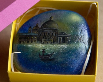 Venice, night view (Original oil painting on a stone). Free shipping