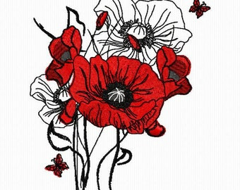 Embroidery of a bouquet of poppies for machine embroidery format 4 x 4 and 5 x 7