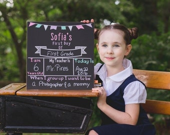 First day of school sign - Personalized chalkboard sign - First day of school Chalkboard - Reusable Chalkboard school sign - Pastel