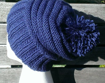 Blue Hat, Navy blue hat, Slouchy hat, Blue Beanie, Blue Winter Hat, Hats for winter, Knitted slouchy Beanie, Slouchy knit hat, Navy blue hat