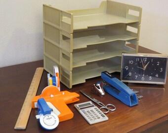 Vintage Office Supply Set Swingline Texas Instruments Dymo GE Westcott