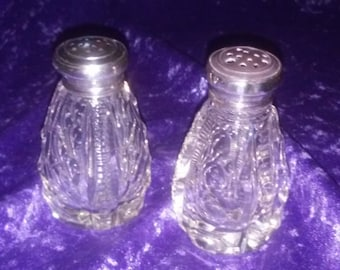 Imperial Glass Crystal SALT & PEPPER Shakers, Cut CRYSTAL 925 Silver Shaker Lids,Thick Heavy Cut Crystal Salt Pepper,Great Gift Idea