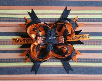 "3"" Halloween Cat Bow"