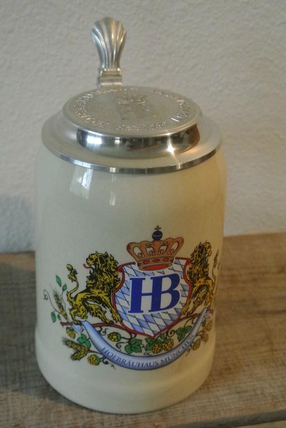 German Beer Stein Vintage Beer Stein Metal Lidded Stein