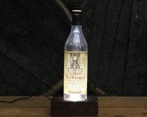 Old Rip Van Winkle (10 Years) Bourbon Lamp / Reclaimed Wood Base / LED Table Light / Handmade Desk Lamp / Upcycled Bourbon Bottle Lighting