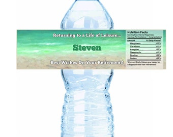Personalized Retirement Leisure Water Bottle Labels - Retirement Water Bottle Labels - Retirement Decor - Retirement Bottle wraps