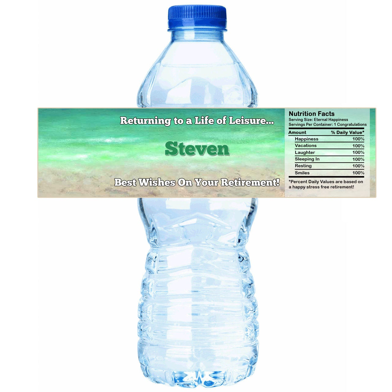Personalized Retirement Leisure Water Bottle Labels