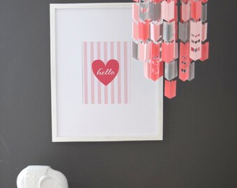 Coral, Pink and Grey Aztec Arrow Paper Mobile Chandelier with Chevron Cutouts