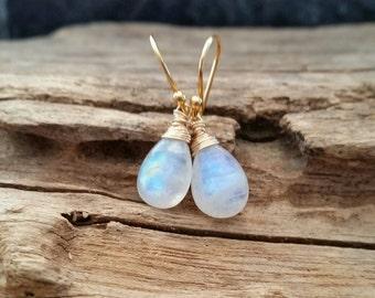 Rainbow Moonstone Gold Filled Earrings,Natural Blue Flash Smooth Drops Earrings,June Birthstone,Rainbow Moonstone Jewelry