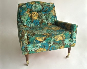 Vintage Mid Century Modern Low Lounge Arm Chair 1950s