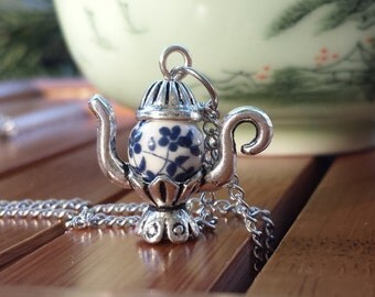 Floral Teapot Bead Charm Necklace
