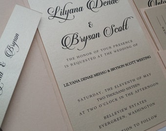 Blush Wedding Invitation Suite, Pocketfold Wedding Invitation, Blush, Pink, Metallic, Script, Pocket Fold; p009-Lilyana