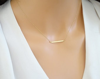 Sleek and minimal 14 k Gold fill Skiny bar necklace, Layering Necklace in Sterling Silver, Rose Gold Fill,Bridesmaid necklace