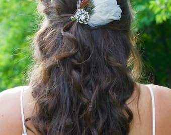 White Bridal Feather Hair Clip with Blue Accents and a Crystal Jeweled Piece