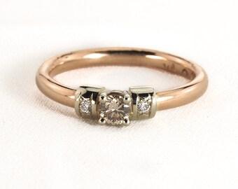 Rose gold engagement diamond ring, champagne diamond ring, 14K rose gold lady diamond ring, champagne diamond ring, solitaire champagne ring