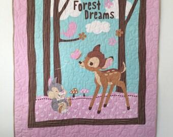 Baby Quilt, Bambi, woodland nursery, crib quilt, woodland baby bedding, woodland forest nursery, Bambi Quilt, woodland gift for baby girl.