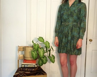 vintage retro 40s/50s floral green and blue belted pretty shirtdress