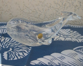Whale crystal of Arques Vintage crystal glass whale 1950 1960 1970 years 60 70 empty Pocket door jewel ring Mid Century Moby Dick MAD MEN
